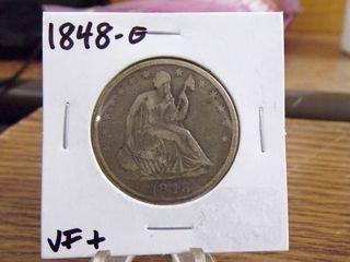 1848 O SEATED lIBERTY HAlF   VF