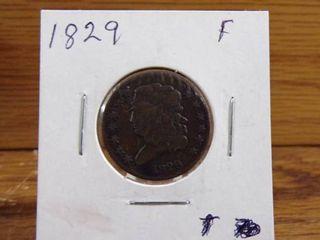 1829 HAlF CENT   F