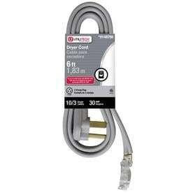 Utilitech 6 ft 10 AWG Gray Plastic Power Cord