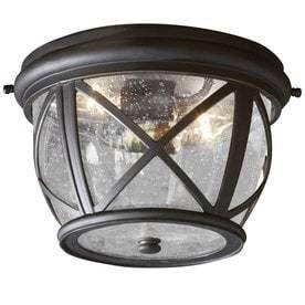 allen   roth Castine 10 9 in W Rubbed Bronze Outdoor Flush Mount light