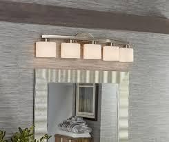 allen and roth merington 5 light vanity bar brushed nickel finish frosted opal glass Shades