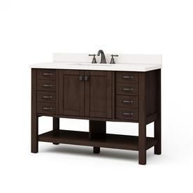 allen   roth Kingscote Espresso Undermount Single Sink Asian Hardwood Bathroom Vanity with Engineered Stone Top  Common  48 in x 20 in  Actual  48 in x 20 in  broken top and some damage on cabinet in back