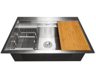 AKDY 33 x22 x9  Top Mount Handmade Stainless Steel Kitchen Sink