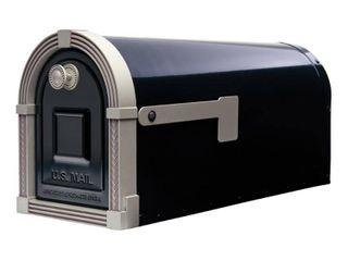 Gibraltar Mailboxes Brunswick large Galvanized Steel Post Mount Mailbox in Black handle broken