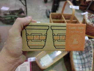 longaberger Pottery Set of 2 Candy Corn Cups