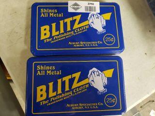 lot of 2 Tins of Blitz Polishing Cloths