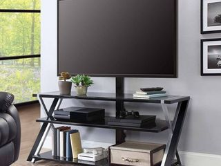 Whalen Xavier 3 in 1 TV Stand for TVs up to 70  with 3 Display Options for Flat Screens  Black with Silver Accents