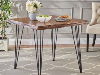 Chana Industrial Faux live Edge Square Dining Table by Christopher Knight Home   natural   black