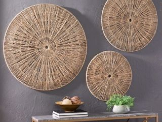 The Curated Nomad Terraza Woven Seagrass Wall Decor  Set of 3