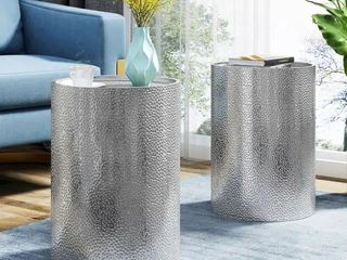 Brookhaven Modern Round Hammered Accent Table  Set of 2  by Christopher Knight Home