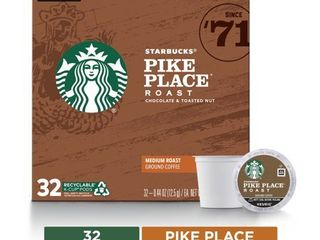 OPEN BOX Individual packets sealed  Starbucks Pike Place Medium Roast Coffee   Keurig K Cup Pods   32ct