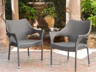 Cliff Outdoor Wicker Chairs by Christopher Knight Home   Set of 2   Grey