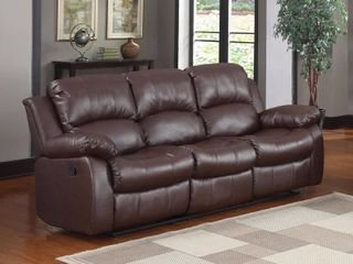 3 seat Double Recliner Bonded leather Sofa