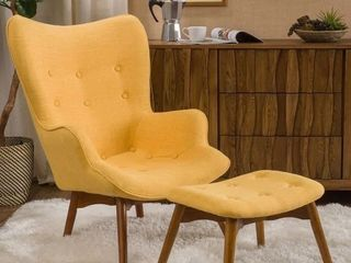 Hariata Mid century Wingback Fabric Chair Ottoman Set by Christopher Knight Home   Muted Yellow
