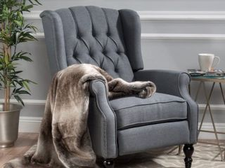 Christopher Knight Home Walter light Beige Fabric Recliner Club Chair   Charcoal