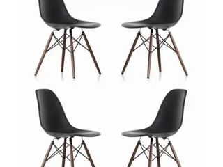 Contemporary Retro Molded Style Black Accent Plastic Dining Shell Chair with Dark Walnut Wood Eiffel legs  Set of 4
