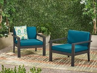 Santa Ana Outdoor Acacia Wood Club Chairs with Cushions  Set of 2  by Christopher Knight Home