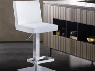 legacy Contemporary Swivel Barstool in Brushed Stainless Steel and White Faux leathe