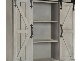 Kate and laurel Cates Rustic Wood Wall Storage Cabinet with Barn Doors   rustic gray