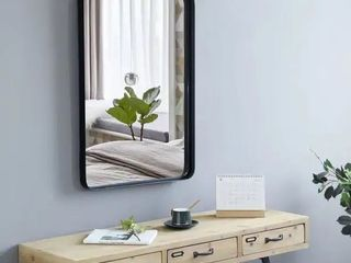 Brushed Metal Wall Mirror Glass Rounded Corner Deep Set Design