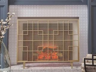 Alamance Modern Single Panel Fireplace screen by Christopher Knight Home