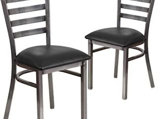 Kings Brand Furniture Black Metal Dining Room Chair With Vinyl Seat  Set of 2 Chairs