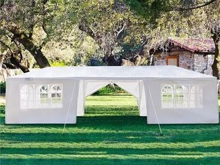 White PE Iron Spiral Interface Wedding Party Canopy Tent   10x30ft 5sides