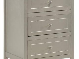 Daniel Collection G1303 N 19  Nightstand with 3 Drawers  Nickel Hardware  Tapered legs  Wood Solids and Veneer Materials in Silver Color