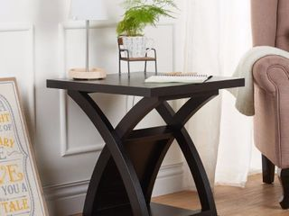 Furniture of America Hali Modern Solid Wood X base End Table