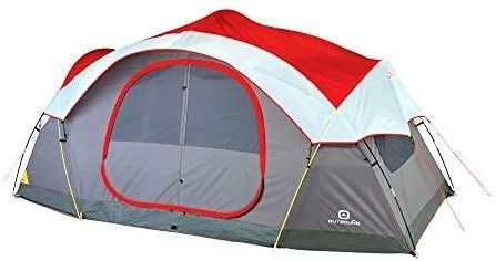 Outbound 8 person Dome Tent Camping With Carry Bag Rainfly Easy Up 3 Season Red