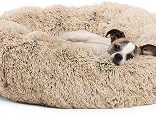 Calming Shag Donut Cuddler Dog Bed in Small