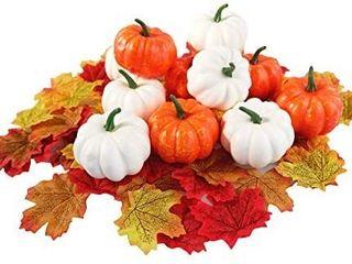 12 PCS White   Black  white  and Brown Artificial Pumpkins Fake Craft Pumpkins for Fall Centerpiece  Halloween  Thanksgiving Autumn Harvest Decoration