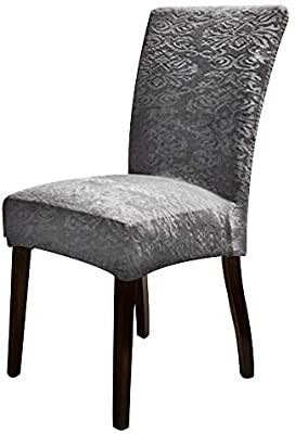 URBANSEASONS Stretch Dining Chair Slipcover Chair Covers Chair Furniture Protector Covers Removable Washable Chair Cover for Hotel Dining Room Ceremony Banquet Wedding Party 2  Grey