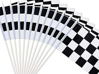 Novelty Place 8 x5 5  Checkered Black and White Racing Stick Flag   Plastic Stick   Decorations for Racing  Race Car Party  Sport Events  10 Pack
