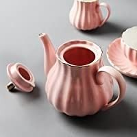 Porcelain Tea Sets British Royal Series  8 OZ Cups  Saucer Service for 6  with Teapot Sugar Bowl Cream Pitcher Teaspoons and tea strainer for Tea Coffee  Pukka Home  Pink