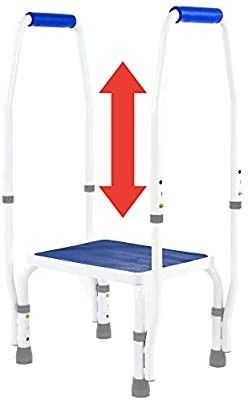 DoubleSafe Deluxe Step Stool Footstool with Dual Handle Handrail  Height Adjustable  Modern White Blue Design  Padded Non Slip Hand Grips