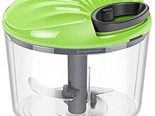Multi Purpose 2 in 1 Rotary Food Chopper  Hand powered Vegetable Slicer  Handheld Onion Food Processor Cutter  Easy to Clean Oriental Kitchen Appliance with Sharp Blades