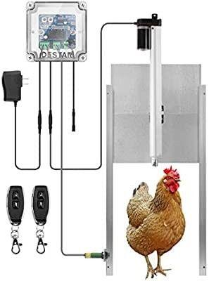 DEStar 12V DC Automatic light Sensitive Chicken Duck Coop Door Opener Kit with Infrared Sensor and Bonus Remote Control Indoor Outdoor