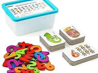 Alphabet and Number Flash Cards Wooden Jigsaw Puzzle Peg Board Set Preschool Educational Montessori Toys for Toddlers Kids Boys Girls 3  Years Old  36 Cards and 37 Wooden Blocks