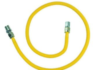 BrassCraft ProCoat 1 2 in  MIP x 3 8 in  FIP x 48 in  Stainless Steel Gas Connector 1 2 in  O D   60 500 BTU