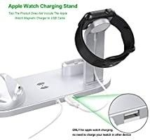 Wireless Charger Stand  3 in 1 Multi Function Wireless Charging Station Dock Kit for Apple Watch Airpods  Qi Fast Wireless Charger Holder Pad for iPhone 11 11 Pro Max XS XR 8 Samsung  Silver