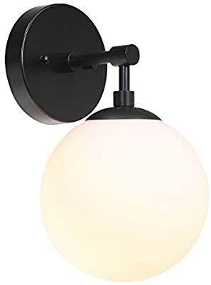 XiNBEi lighting Wall light 1 light Vintage Wall Sconce with Globe Glass  Bathroom Vanity light in Matte Black for Bathroom   Bedroom XB W1211 MBK