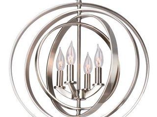 Kira Home Orbits 18  4 light Modern Sphere Orb Chandelier  Brushed Nickel Finish
