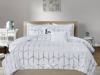 Intelligent Design Raina 5 Piece Duvet Set Metallic Print Geometric Style Embroidered Toss Pillows Modern Trendy All Season Comforter Cover Bedding Set with Matching Sham  Full Queen  White Silver