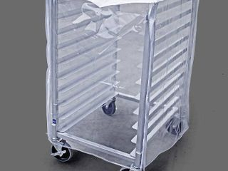 New Star Foodservice 36572 Plastic 20 Tier Commercial Kitchen Bun Pan Rack Cover  28 Inch by 23 Inch by 61 Inch  Set of 2  Clear