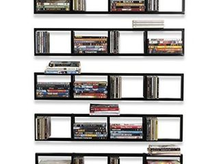 You Have Space Wall Mount 34 Inch Media Storage Rack CD DVD Organizer Metal Floating Shelf Set of 5 Black