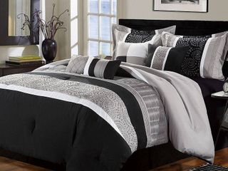 Chic Home Euphoria 8 Piece Embroidered Comforter Set Embroidery Pintuck Bedding with Bed Skirt and Decorative Pillows Shams  Queen Black White