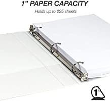 Cardinal Economy 3 Ring Binders  1  Round Rings  Holds 225 Sheets  ClearVue Presentation View  Non Stick  White  Carton of 12  90621
