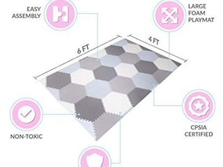 Baby Brielle Interlocking Hexagon Floor Foam Tile Activity Mat for Tummy Time  Crawling  and Playing Ultra Thickness Playmat for Infants and Toddlers for Nursery Room in Grey White