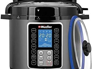 Mueller 6 Quart Pressure Cooker 10 in 1  Cook 2 Dishes at Once  Tempered Glass lid incl  Saute  Slow Cooker  Rice Cooker  Yogurt Maker and Much More